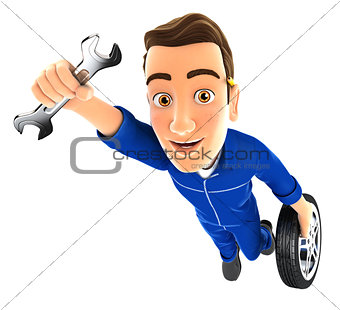 3d mechanic flying with wrench and wheel