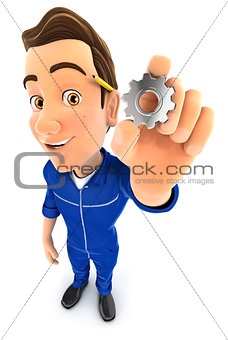 3d mechanic holding a gear