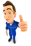 3d mechanic positive pose with thumb up