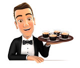 3d waiter holding four cups of coffee