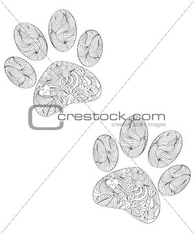 animal paw print on white background.