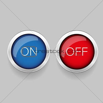 On Off button red and blue