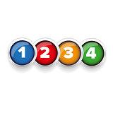 One Two Three Four button set