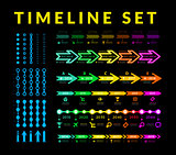 Timeline infographic vector set