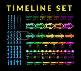 Timeline infographic vector set
