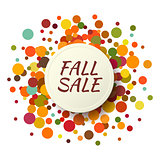 Fall Sale promo label. Autumnal confetti template for banner, poster, certificate. Vector illustration EPS10