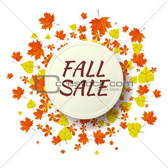 Autumn seasonal sale label. Vector illustration EPS 10