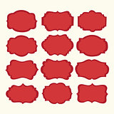 Vector set red vintage labels and frames. Vector illustration
