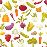Ecological farming production classical vegetables seamless pattern on white background. Vector illustration retro style