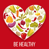 Healthy life. Cartoon style heart with healthy vegitables. Vector illustration