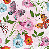 Seamless gentle floral pattern with colorful flowers