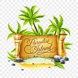 Paradise Island with ancient parchment script banner