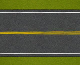 Asphalt highway road with roadside top view