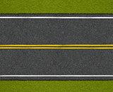 Asphalt highway road with roadside top view