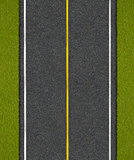 Asphalt highway road with grass top view