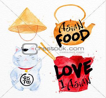 Asia symbols lucky cat