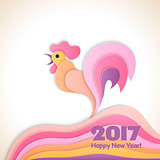 Happy new year background with rooster, symbol of 2017 on the Chinese calendar.