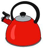 Red metal kettle