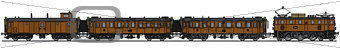 Old brown electric train
