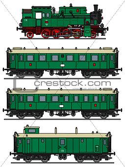 Old green steam train