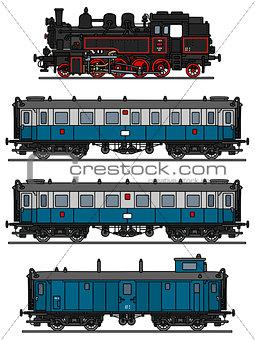Old blue steam train