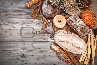Fresh crispy breads baking of loaf and