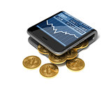 Concept Of Digital Wallet And Bitcoins. Gold Bitcoins Spill Out Of The Curved Smartphone.