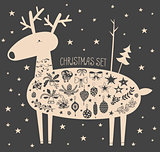 Vector Christmas deer with icon set