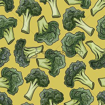 Broccoli vector seamless pattern.