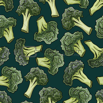 Broccoli vector seamless pattern.