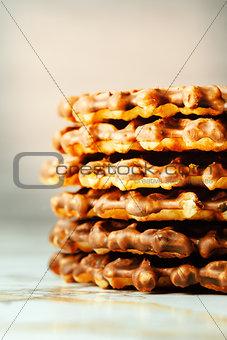 Homemade Waffles Close Up View