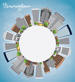 Birmingham (Alabama) Skyline with Grey Buildings, Blue Sky and c