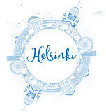 Outline Helsinki skyline with blue buildings and copy space.