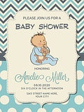 Beautiful baby boy shower card with little baby