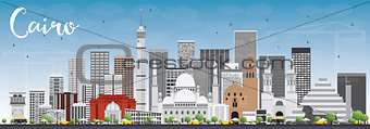 Cairo Skyline with Gray Buildings and Blue Sky.