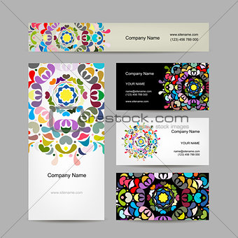 Business card collection, abstract floral design