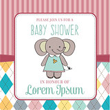 baby shower card with cute little mouse