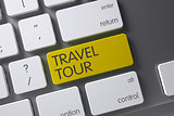 Keyboard with Yellow Key - Travel Tour. 3D Illustration.