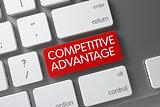 Red Competitive Advantage Keypad on Keyboard. 3D Illustration.
