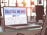 Laptop Screen with Digital News Concept. 3D Illustration.