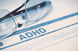 ADHD - Printed Diagnosis. Medicine Concept. 3D Illustration.