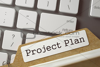 Card File with Project Plan. 3D Illustration.