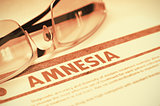 Diagnosis - Amnesia. Medical Concept. 3D Illustration.