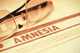 Diagnosis - Amnesia. Medical Concept. 3D Illustration.