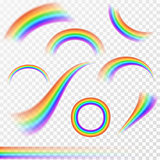 Set of realistic rainbows in different shape on transparent background