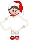 Christmas girl holding blank cloud