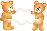 Couple teddy bears holding blank cloud