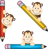 Funny monkey with pencil