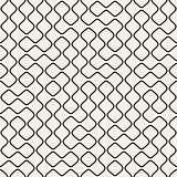 Vector Seamless Black and White Round Line Grid Geometric Pattern