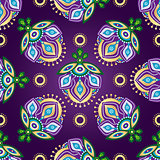 Floral dark violet seamless pattern